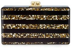 Edie Parker Jean Confetti Striped Acrylic Clutch Bag, Black/Gold on shopstyle.com #MirandaKerr #WeShopStyle