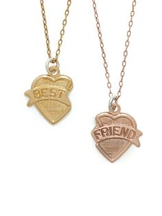 Whether you keep them both for yourself or decide to share one with your better half, the classic best friend motif brings back fond memories of childhood in an incredibly chic way.
