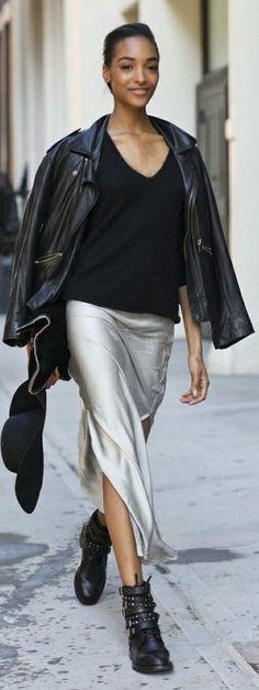 Silver Split Maxi Skirt by LadyAddict
