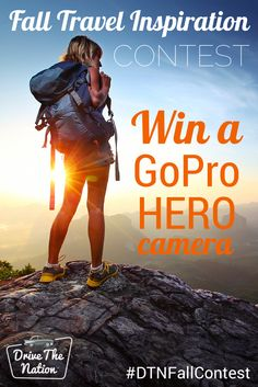 Enter our Fall Travel Inspiration Contest for a chance to win a GoPro HERO camera! Four lucky winners will receive a brand new GoPro HERO to take on their next travel adventure. Click through to enter and see the official rules. Don't forget to use #DTNFallContest on your pins! #contest #gopro #win