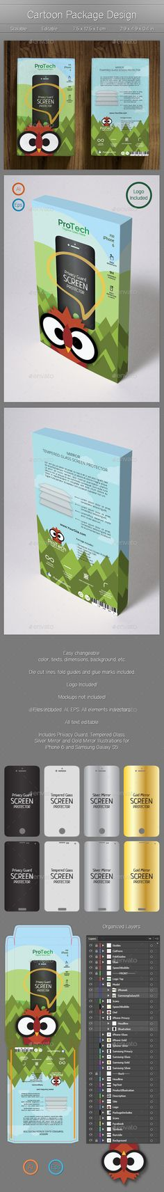 blue, box, cartoon, cartoony, color, colorful, cut, cute, design, die cut, editable, forest, glass, green, illustration, inviting, logo, modern, owl, phone, product, red, simple, template, vector, vivid, print-templates, packaging Cartoon Package Design General – Multipurpose Box Design Template. Very organised and named layers, fully editable. Easy changeable color, texts, illustrations, etc. Logo included ! Files included: .ai .eps Free Google fonts used: Raleway: https://www.google.com...