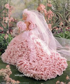 """BRIDAL BLUSH""~Annie's Crochet PATTERN fits BARBIE FASHION DOLL~OOP~SEE PICS"