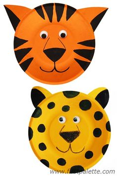 Tutorial: Paper Plate Animals - So many to choose from - Lion, Leopard, Tiger, The 3 Pigs, Elephant, Giraffe, Reindeer, Polar Bear, Cow, Rabbit, Zebra, Dog - Kids can create a theatre show with the different characters! / http://www.firstpalette.com