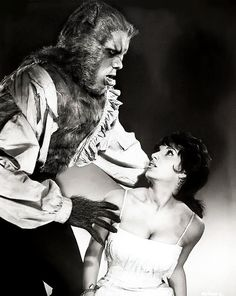 """Yvonne Romain and Oliver Reed publicity for """"The Curse of the Werewolf"""", 1961"""