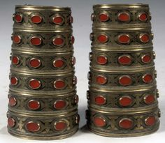 Turkmenistan | Pair of Tekke silver, gilt and carnelian wristcuffs | 19th century | 3,500€ ~ sold (Apr '10)