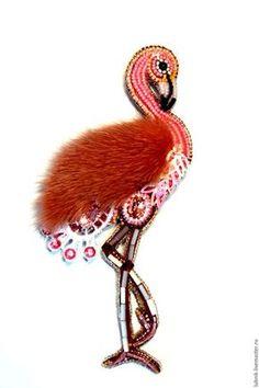 """Броши ручной работы. Брошь """"Розовый фламинго"""". Тюрина Любовь брошки-миниатюры. Ярмарка Мастеров. Брошь, подарок на день рождения"""
