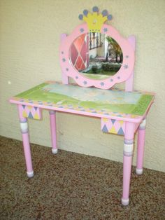 shabby chick vanity | shabby chic Handpainted Fairy Vanity for little girl princess with ...