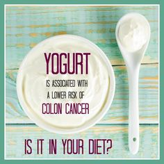 Did you know that eating yogurt has been linked to a lower risk of colon cancer? #cancer #yogurt