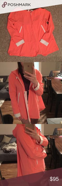 "Lululemon Coral Rain Jacket Lululemon Coral Pink Rain Jacket   -Brand new, never ""worn""  -Very breathable and ventilated  -Beautiful Coral color  -Cute & fashionable -Size 8, but would fit smaller & larger  -80% Polyester, 20% Spandex   NO TRADES OR HOLDS lululemon athletica Jackets & Coats"