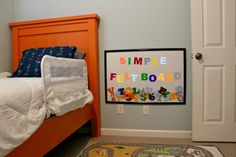 Very cool! A felt board made EASY and ON THE CHEAP. Perfect for a child's room/playroom!