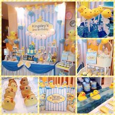 An adorable Rubber Ducky themed birthday party! Backdrop & candy buffet design and setup by ParteeBoo - The Party Designers!: