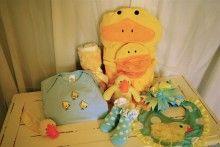 Duck, Duck, Baby: Onesie, bath towel, burp cloth, hair bow, socks, rattle, pacifier clip