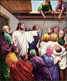"""Which is easier: to say, 'Your sins are forgiven,' or to say, 'Get up and walk'? But I want you to know that the Son of Man has authority on earth to forgive sins."""" So he said to the paralyzed man, """"I tell you, get up, take your mat and go home."""" Immediately he stood up in front of them, took what he had been lying on and went home praising God. Everyone was amazed and gave praise to God. They were filled with awe and said, """"We have seen remarkable things today. ~ Luke 5:23-26"""