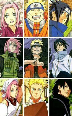 Sakura, Naruto, and Sasuke from beginning to end.I'll miss Naruto.i was crying.crying again. Man I wish Naruto had his spikey long hair still, like his father minato Anime Naruto, Naruto Uzumaki, Manga Anime, Naruto Art, Hinata Hyuga, Naruhina, Naruto Team 7, Sasuke Sakura, Naruto Evolution