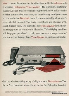 Now your dictation can be effortless! #vintage #1950s #office #dictaphone #ads