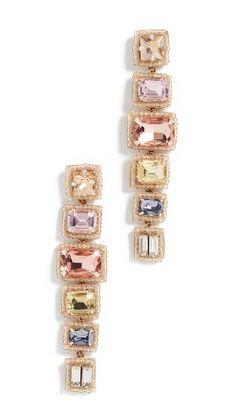 Deepa Gurnani Bree Earrings In Pastel Multi Deepa Gurnani, Central Saint Martins, India Fashion, Statement Earrings, Soft Fabrics, Jewelery, Wedding Day, Pastel, Crystals