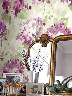 Floral Watercolor Wallpaper in Purples, Greens, and Off-White design by Seabrook Wallcoverings