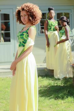 Yellow Print Bridesmaid Dresses