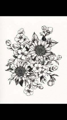 Floral flower drawing black and white illustration pinterest sunflower tattoos tattoo drawings fine art illustrations sunflowers piercings tatoo tatting tattoo mightylinksfo