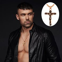Stainless Steel Jesus Christ Cross Crucifix Men's Necklace 18K Rose Gold Plated - Necklaces & Pendants
