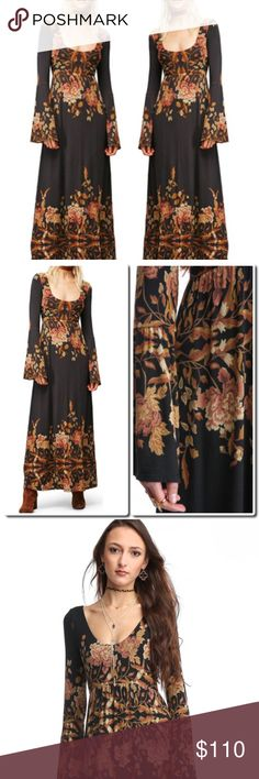 COMING SOON Free People Maxi Dress Enchanting and charming, this Midnight Garden dress by Free People is a whimsical way to get event ready with its scoop neck and back, long bell sleeves, floral print, and flowy silhouette.   Midnight Garden dress Long b