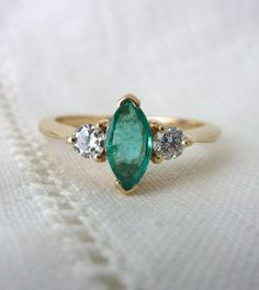 A Natural Marquise Emerald and Diamond Engagement Ring in 14kt Yellow Gold - Vera
