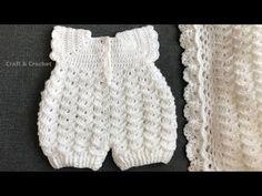 Enkel hekle baby romper / håndverk & hekling 0805 - YouTube Baby Romper Pattern Free, Crochet Girls Dress Pattern, Crochet Baby Cardigan, Crochet Romper, Baby Girl Crochet, Crochet Doll Clothes, Baby Clothes Patterns, Baby Knitting Patterns, Easy Crochet