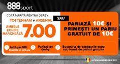 Pariaza pe derby-ul Tottenham - Arsenal cu o super promotie la 888sport - Ponturi Bune