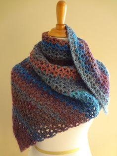 "Fiber Flux...Adventures in Stitching: Free Crochet Pattern J (6.0 mm) Crochet Hook 2-3 Balls of Lion Brand Amazing Yarn (Note: if making the regular sized shawl, you'll need 3 balls of yarn.  If making the smaller ""shawlette"" you'll need 2)"
