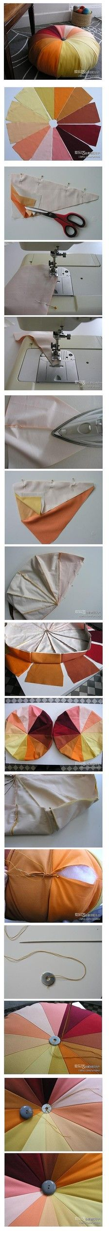 Make a colorful pumpkin cushion, need not have much courage, it looks like a larger version of the sewing kit, only a start to a prosthetic colors together, surrounded by a circle, respectively to prepare two sets, because It separates the upper half and lower half done, and vertically symmetrical.  How many petals as you decide, 36 ...
