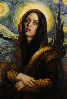Madonna Lisa. 36 X 24 in, oil on linen by Cesar Santos as part of the Syncretism series of oil paintings.