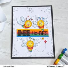 *NEW Hap-Bee Birthday Clear Stamps | Whimsy Stamps Whimsy Stamps, Friendship Cards, Birthday Images, Stamp Collecting, Clear Stamps, Bee, Design, Card Crafts, Honey Bees