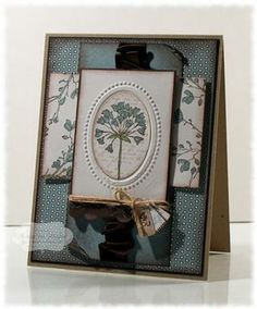 ♥ this Stampin' Up card!  The tone on tone blue looks so gorgeous!  ♥ the ruched ribbon detail and embossed flower.