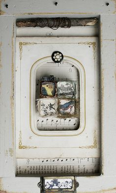 ⌼ Artistic Assemblages ⌼ Mixed Media, Journal, Shadow Box, Small Sculpture Collage Art - Shadowbox collage | Awake by Rebecca Sower, via Flickr