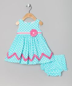 Take a look at this Teal & Fuchsia Polka Dot Dress & Diaper Cover - Infant & Toddler by Rare Editions on #zulily today!