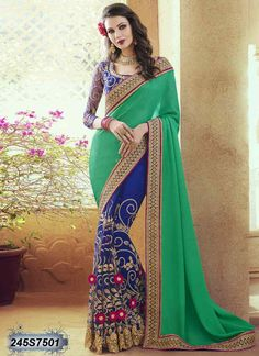Engrossing Blue and Green Coloured Net Embroidered Saree