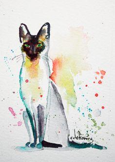 Spectacular Siamese Cat original ACEO painting