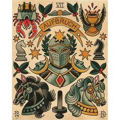 """VII - The Chariot"" - The Major Arcana Tarot Flash -Sebastian Domaschke High Quality Giclée-Print on Hahnemühle William Turner 190 gsm Digital FineArt Aquarel Tatto Old, Old Tattoos, Body Art Tattoos, Sleeve Tattoos, Arabic Tattoos, Vintage Tattoos, Desenho New School, Dessin Old School, Tattoo Flash Sheet"