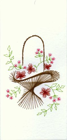The Latest Trend in Embroidery – Embroidery on Paper - Embroidery Patterns Embroidery Cards, Embroidery Flowers Pattern, Hand Embroidery Stitches, Stitching On Paper, Sewing Cards, String Art Patterns, Thread Art, Christmas Embroidery, Card Patterns
