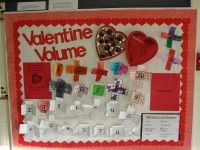 This is a picture of a bulletin board used for displaying student work of a volume activity. The candy box has brown snap cubes in it which were used to represent chocolate pieces. Students built t… February Bulletin Boards, Valentines Day Bulletin Board, Bulletin Board Design, Teacher Bulletin Boards, Preschool Bulletin Boards, Maths Display, 4th Grade Math, Math Facts, Board Ideas
