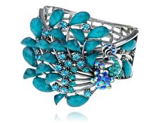 Faux Synthetic Turquoise Beads Synthetic Sapphire Crystal Rhinestone Peacock Bird Bracelet Bangle