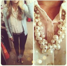Light blue cardigan, white collared top with gold dots and some pearls