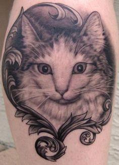 Cat & Filigree Tattoo