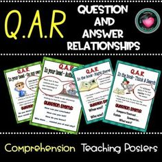 """These charts were made to display the 4 comprehension strategies used when answering questions about a text using the """"Question answer Relationship"""" categories. Each chart includes a description of the strategy, a visual prompt, where to find the answers and example question stems/starters.Increase ... Question Stems, Question And Answer, Education And Literacy, Primary Education, Co Teaching, Teaching Resources, Reading Goals, Learning Support, Secondary Teacher"""