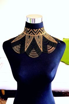 A full frontal dress necklace with a fastened buttons at the back. Space Fashion, Fashion Line, Punk Fashion, Lolita Fashion, African Beads, African Jewelry, Beaded Cape, Antique Jewellery Designs, African Accessories