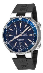 Oris Men's 64376098555RS TT1 Diver Blue Guilloche Small Seconds Dial Watch