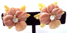 """STUNNING VINTAGE ESTATE PINK YELLOW CELLULOID FLOWER 1"""" EARRINGS!!! 3177I"""