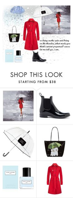 """""""Red Raincoat"""" by jannz ❤ liked on Polyvore featuring Renwil, Sole Society, Kate Spade, Harrods, Marc Jacobs and rain"""