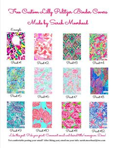 Free customized Lilly Pulitzer binder covers! No downloads or purchases needed! Just like this blog post, pick your print, comment or email your email address, and provide what title/monogram you wish to have on the cover. REPIN!!