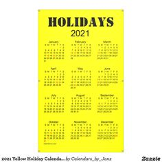 2021 Yellow Holiday Calendar by Janz Banner